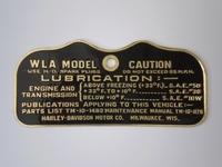 3531-41M  caution plate WLA, brass