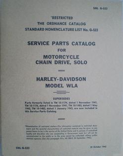 1600541  Parts catalog 1940 to 1943 WLA military models
